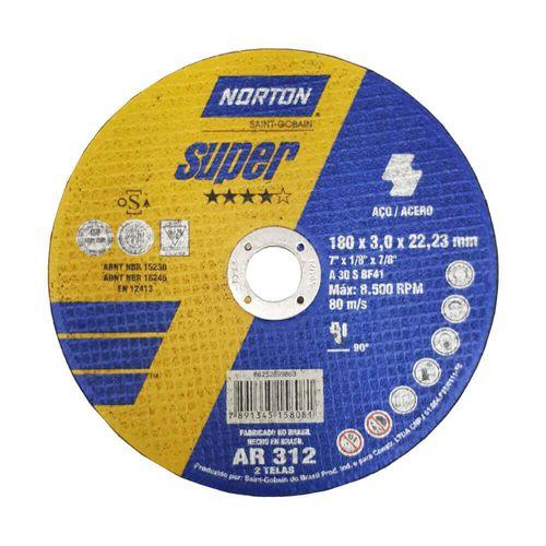 DISCO-NORTON-DE-CORTE-SUPER-AR312-PARA-ACO-7-1-6-POLEGADAS